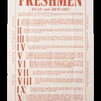 """Freshman Rules"" Poster"